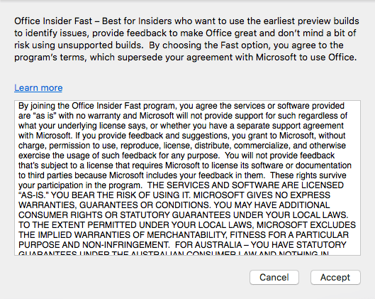 Microsoft Office Auto Update Disclaimer for Fast option
