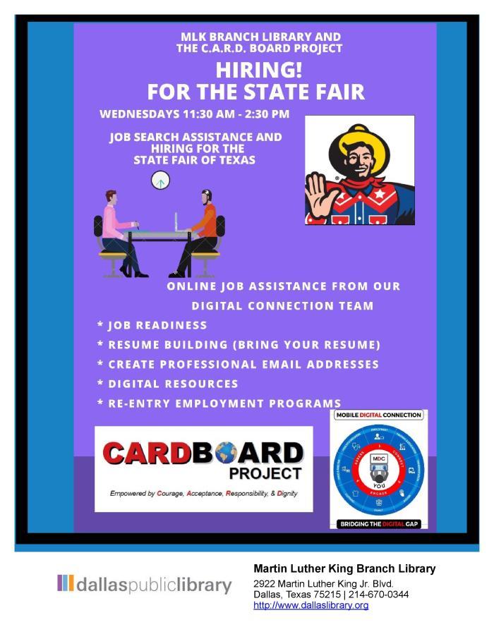 State Fair Job Assistance @ MLK Library