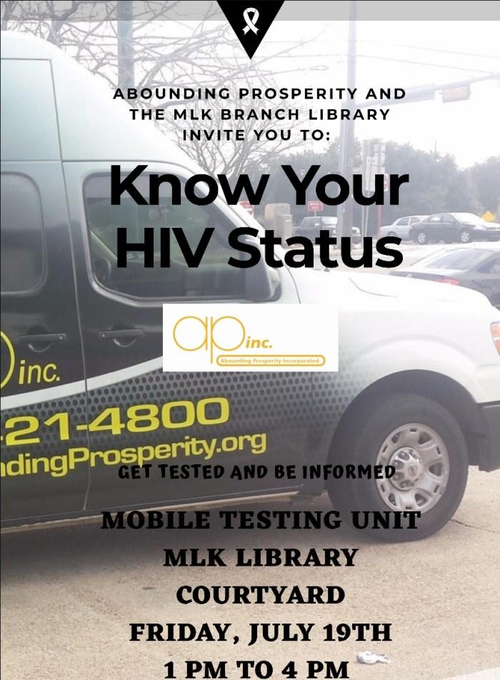 Free HIV Testing @ MLK Branch Library