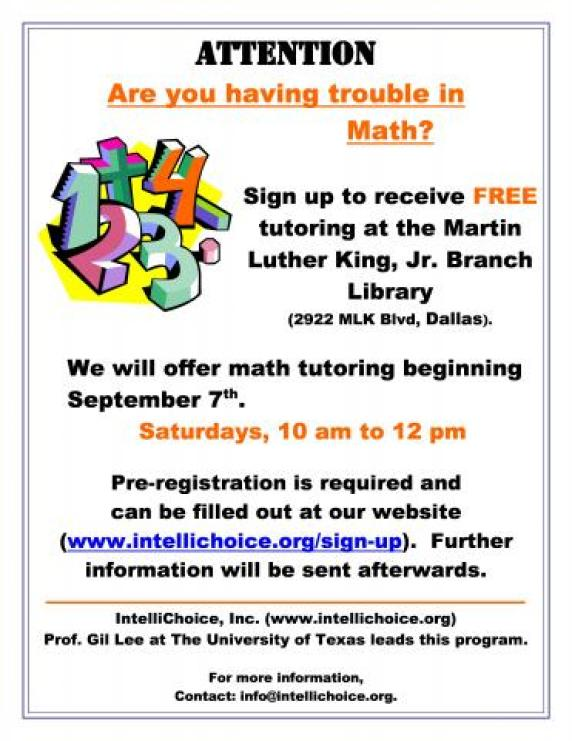 Free Math Tutoring @ MLK Branch Library
