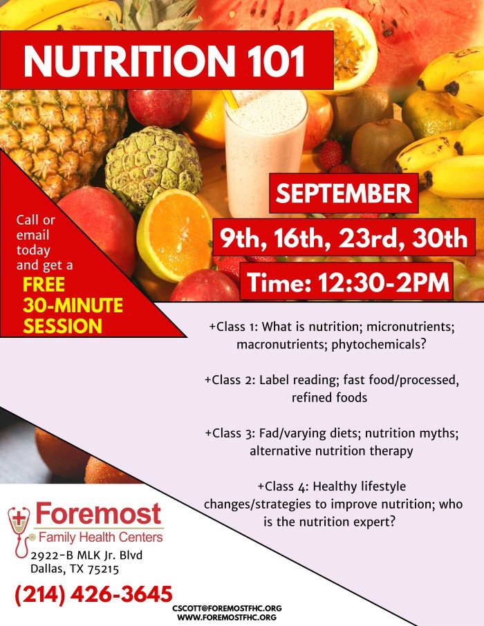 Nutrition 101 @ Foremost Family Health Center