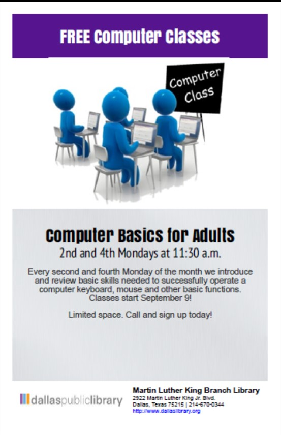 Computer Basics for Adults @ MLK Branch Library
