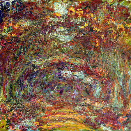 MMT 170210 The Rose Path, Giverny, 1920-22 (oil on canvas) Monet, Claude (1840-1926) MUSEE MARMOTTAN MONET, PARIS, ,