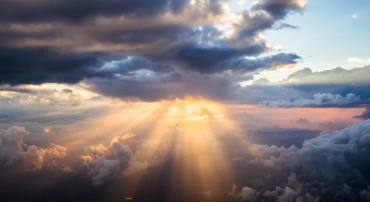 Cloudscape with sunlight