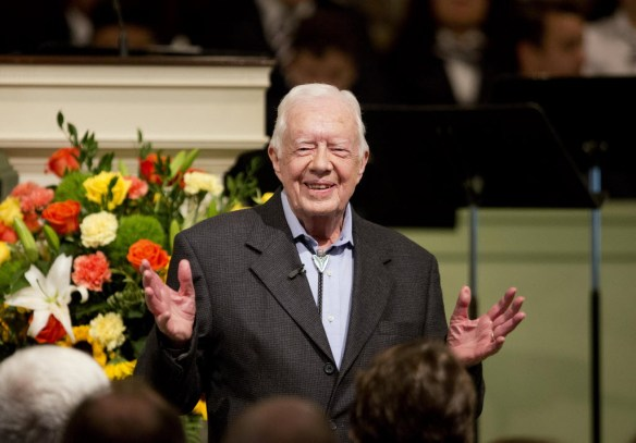 In this Aug. 23, 2015 file photo, former President Jimmy Carter teaches Sunday School class at Maranatha Baptist Church in his hometown in Plains, Ga. (AP Photo/David Goldman)AP