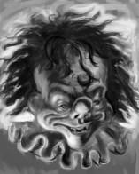 clown painting b&w
