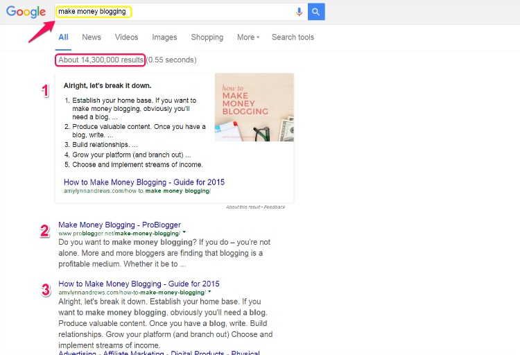 Keywords and Search Results