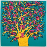 keith-haring-am-1958-1990-the-tree-of-monkeys-acrylic-1984