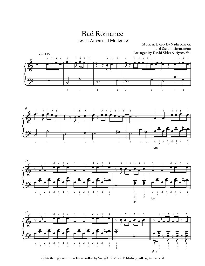 Bad Romance Sheet Music : romance, sheet, music, Romance, Piano, Sheet, Music, Advanced, Level
