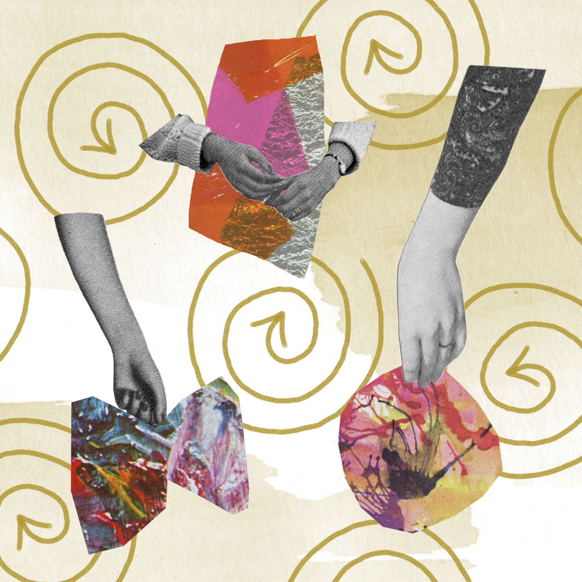 Collage with hands and swirls by Holly Leonardson