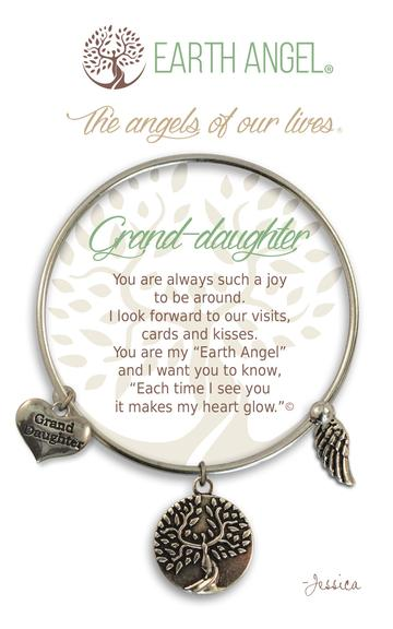 """Earth Angel Charm Bracelet """"Grand-Daughter"""" Antique Silver"""