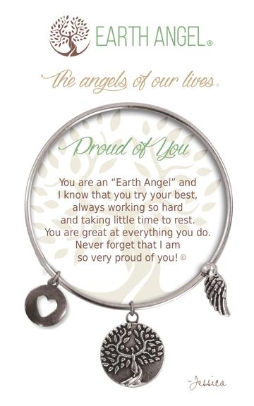 """Earth Angel Charm Bracelet """"Proud of You"""" Antique Silver"""