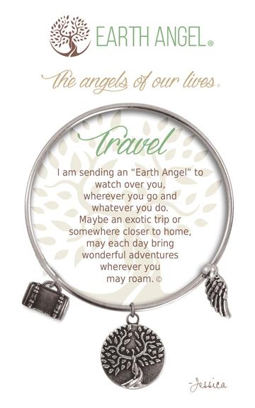 "Earth Angels Charm Bracelet ""Travel"" Antique Silver"