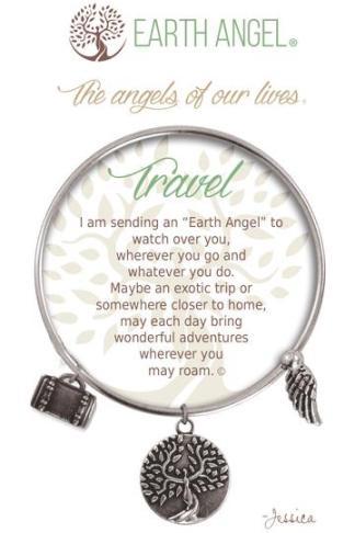 "Earth Angels Charm Bracelet ""Travel"" Antique Silver"