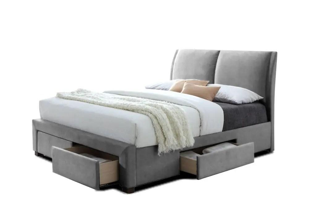 lit adulte design en simili cuir coloris gris 140 x 200 cm