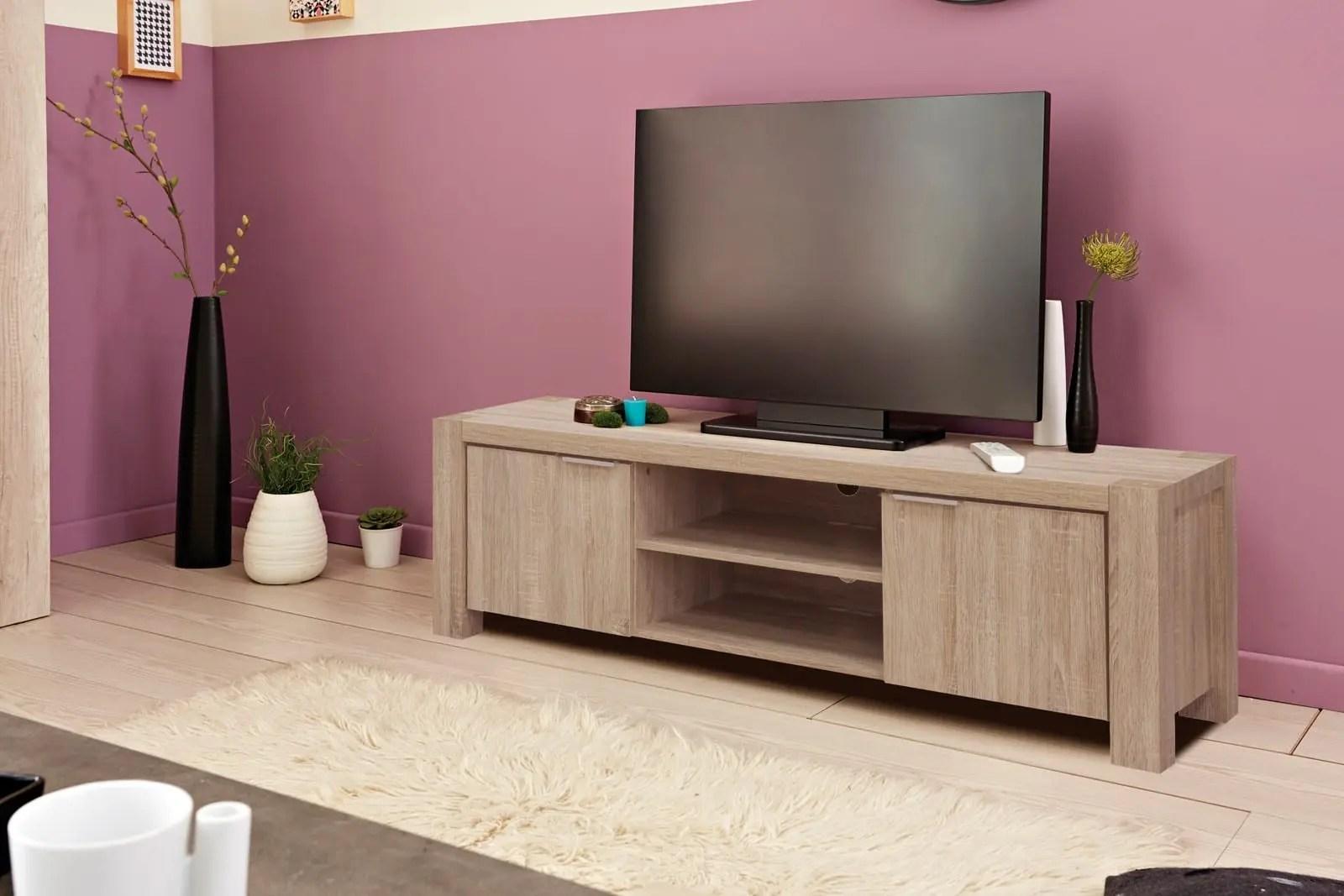 meuble tv moderne coloris sonoma claire