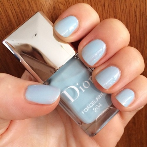 Dior Porcelaine nail polish in natural daylight, 2 coats
