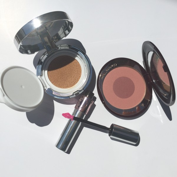 Amore Pacific Color Control Cushion Compact, Charlotte Tilbury Cheek to Chic Blusher, YSL Volupte Tint In Oil