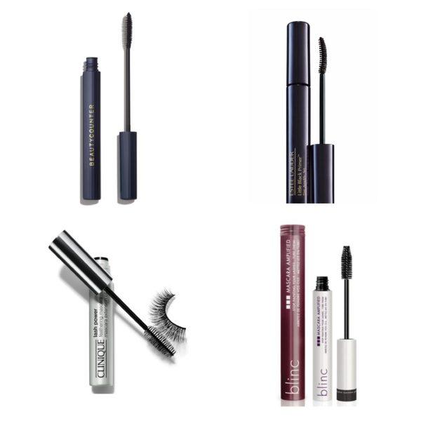 clockwise from top left: Beautycounter Lengthening Mascara, Estee Lauder Little Black Primer, Blinc Mascara Amplified, Clinique Lash Power Feathering