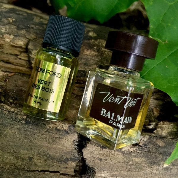 Tom Ford Private Blend Vert de Bois with my Balmain Vent Vert - not the same, but maybe kissing cousins...