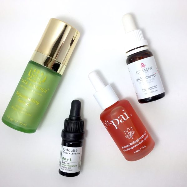 from left: Tata Harper Rejuvenating Serum, Odacite Bu+L Serum, Pai Rosehip BioRegenerate Oil, Kosmea Certified Organic Rosehip Oil