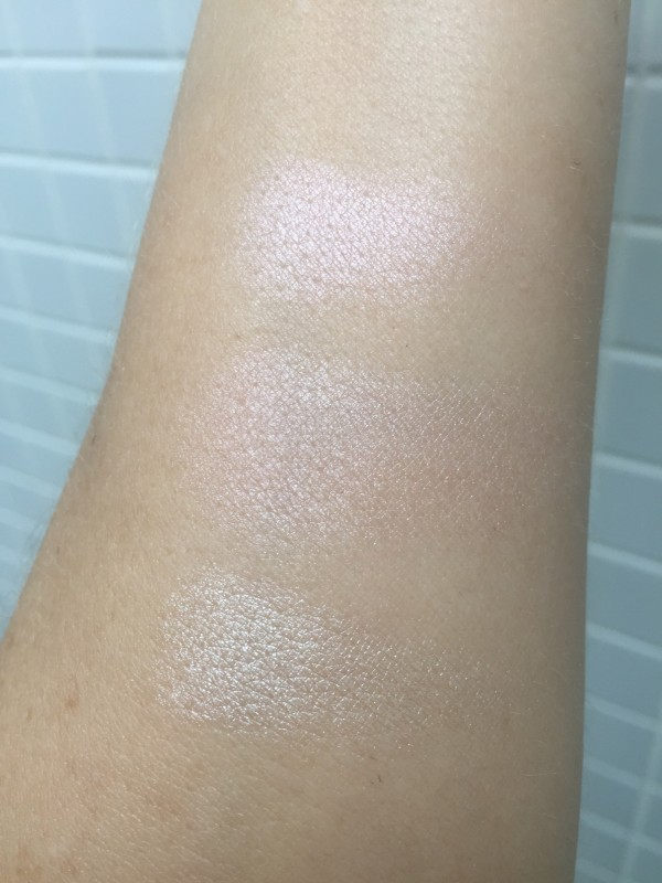 Top: NYX Cool Toned Pink Middle: Hourglass Ambient Strobe Powder Incandescent Bottom: True Champagne