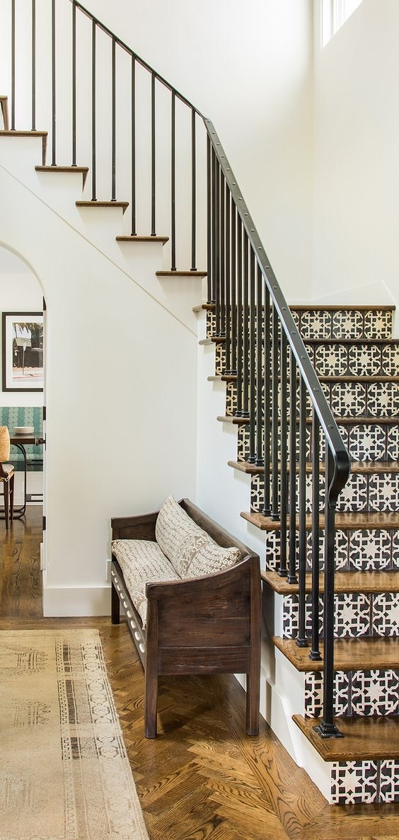 Staircase Renovation Project Intro And What Tile Has To Do With | Wood Stairs With Tile Risers | Grey | Diy | Design | Mosaic | Stone