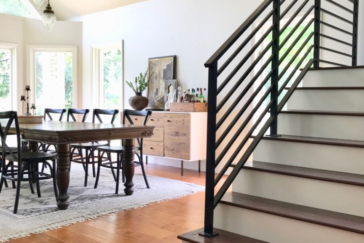 Our Finished Staircase With Horizontal Stair Railing Daly Digs | Modern Stair Rails Indoor | Beautiful | Unique Fancy Stair | Wooden | Industrial | Flat Bar