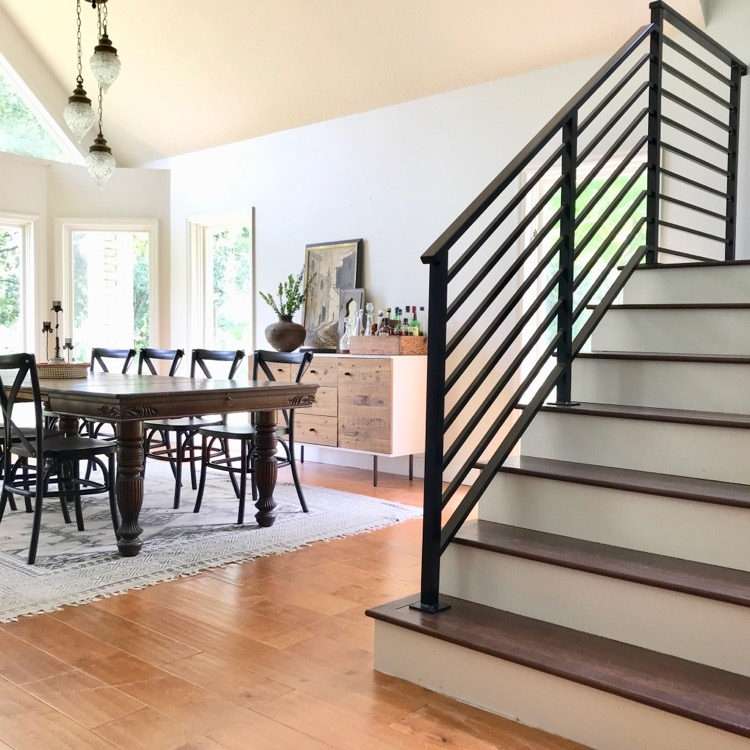 Our Finished Staircase With Horizontal Stair Railing Daly Digs   Black Wood Stair Railing   Hardwood   Curved Wood   Ash Gray   Oak   Cantilever Stair