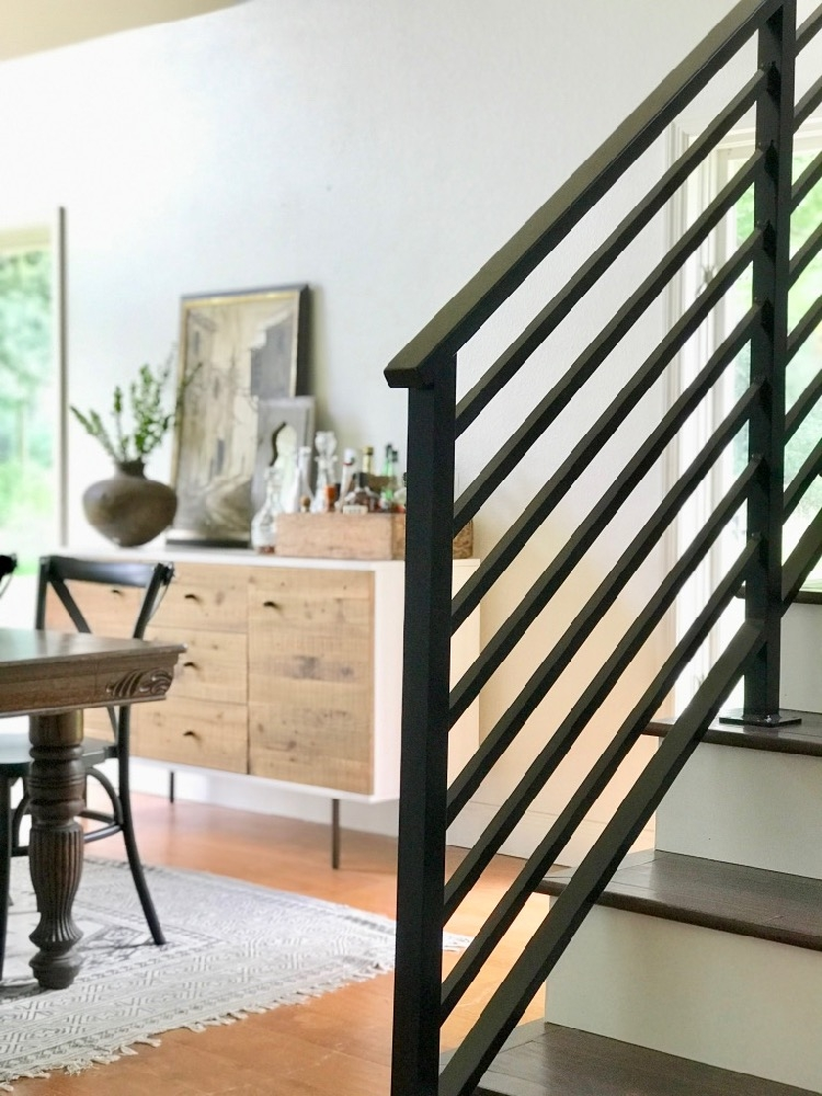 Our Finished Staircase With Horizontal Stair Railing Daly Digs | Modern Metal Railings Interior | Modern Style | Horizontal | Wood | Simple | Custom