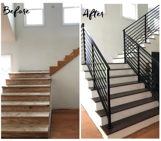 Our Finished Staircase With Horizontal Stair Railing Daly Digs | Wrought Iron Stair Railings Interior Cost | Wood | Cast Iron Spindles | Stair Spindles | Staircase Ideas | Iron Staircase Railings