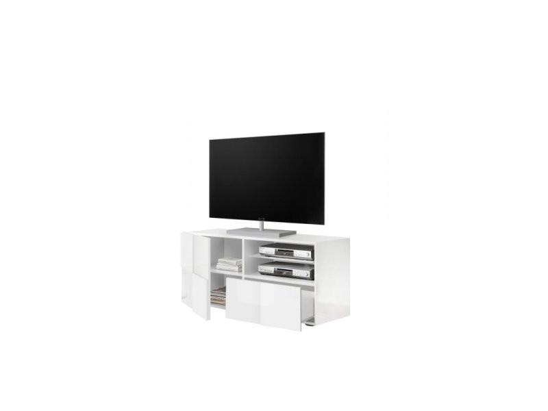 meuble tv design 122 cm milenor coloris blanc
