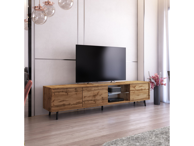 meuble tv galhad 175 cm chene wotan eclairage led