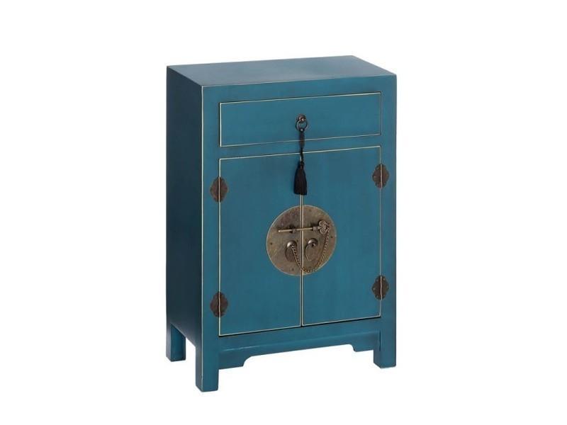 confiturier 2 portes 1 tiroir bleu meuble chinois pekin l 45 x l 26 x h 69 neuf
