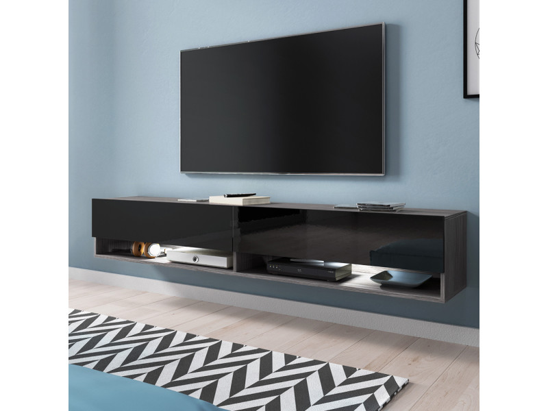meuble tv wander 180 cm bodega noir brillant led