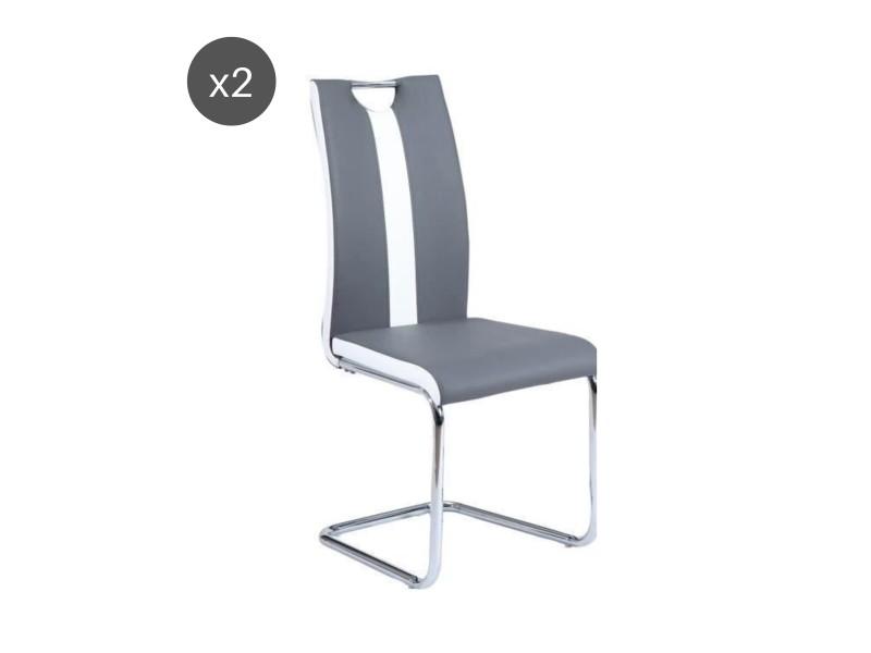 jade lot de 2 chaises de salle a manger simili gris et blanc style contemporain l 43 x p 58 cm