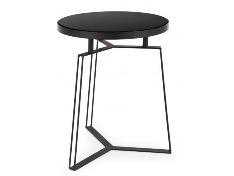 table basse coloris noir en fer et verre o 40 x h 50 cm pegane