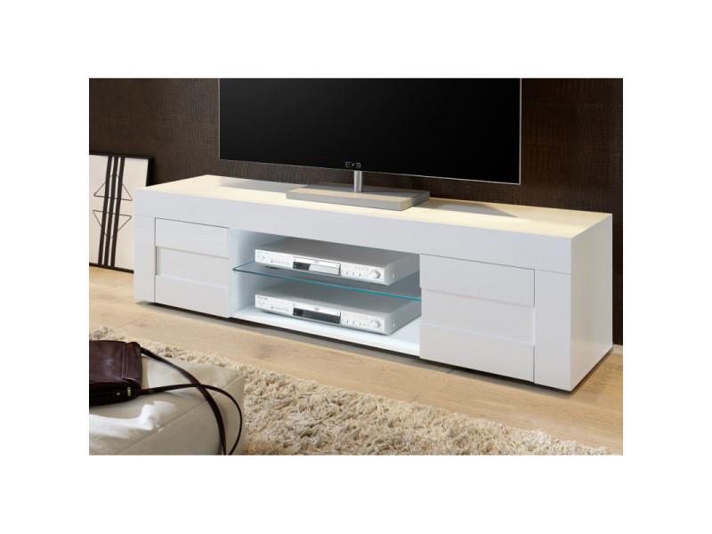 meuble tv design 180 cm daisy coloris blanc