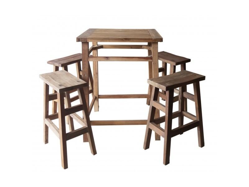 ensemble table haute 4 tabourets de bar bois de teck vicky