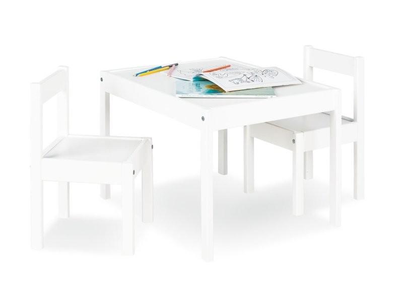 table avec deux chaises pour enfant en bois de pin laque blanc ape07029