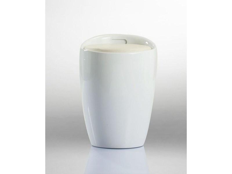 pouf rangement blanc