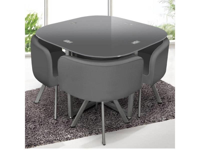 table et chaises mosaic 90 gris vente