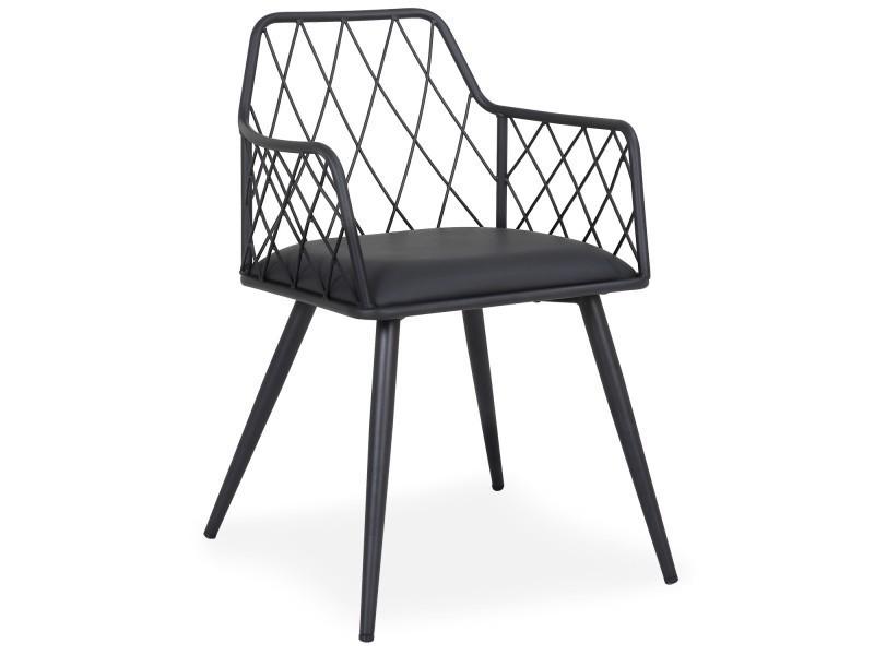 chaise fauteuil steffie simili noir