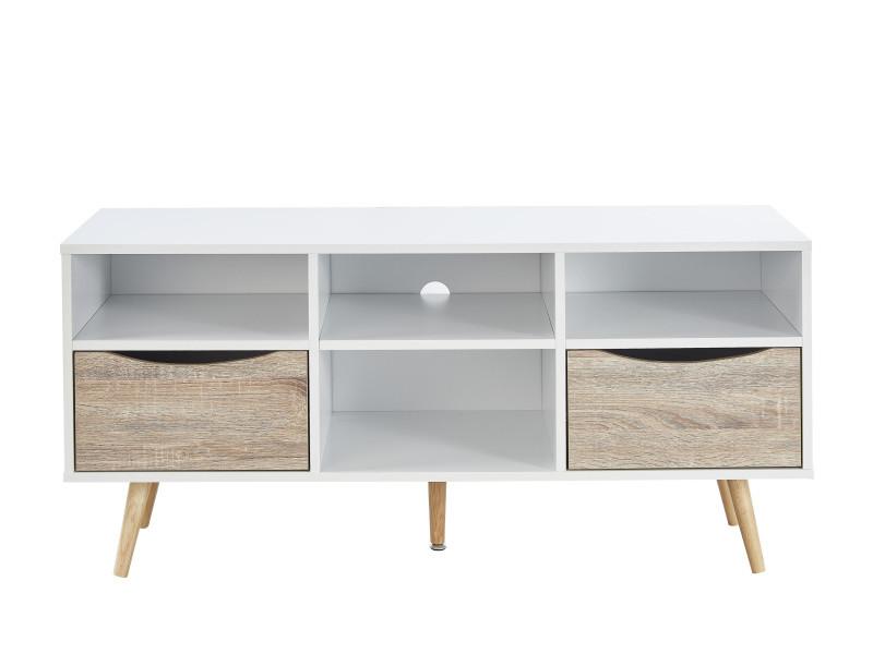 bela meuble tv scandinave blanc et