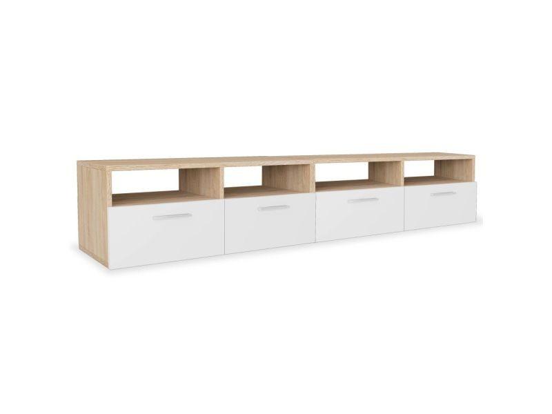 icaverne meubles audio video et pour home cinema edition meuble tv 2 pcs agglomere 95 x 35 x 36 cm chene et blanc