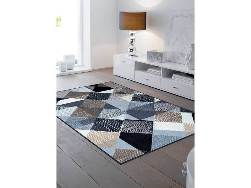 tapis chambre lines and boxes tx bleu 75 x 120 cm tapis de salon moderne design par kleen tex