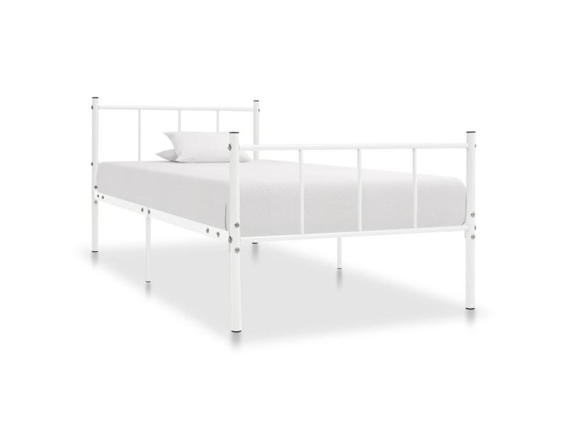 vidaxl cadre de lit blanc metal 100 x 200 cm