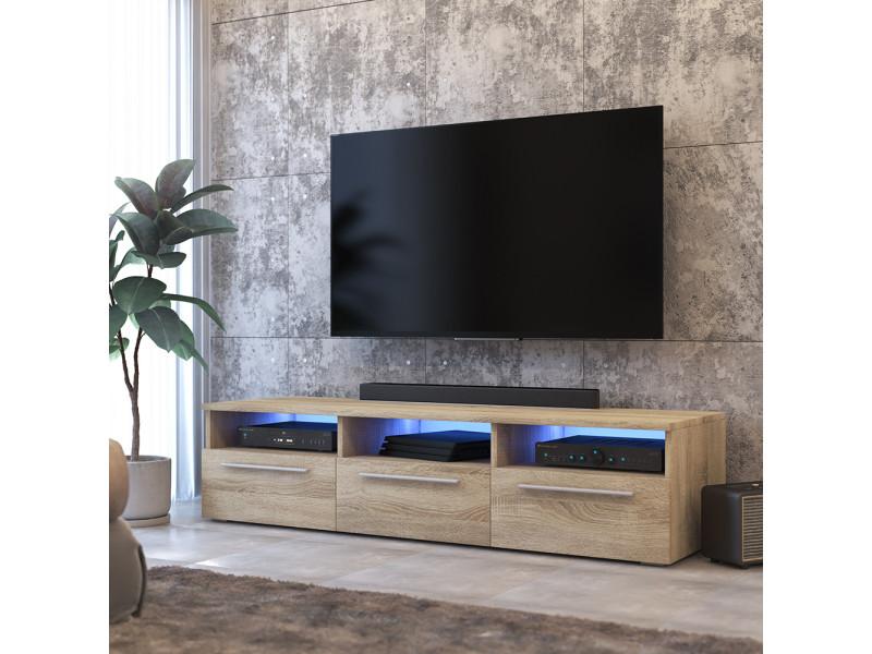 meuble tv lavello 140 cm chene sonoma led inclus