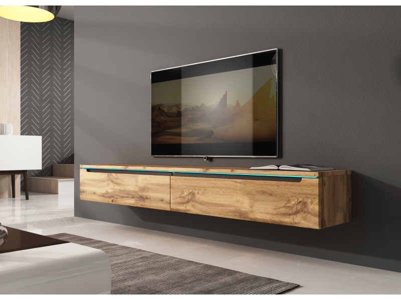 furnix meuble tv flottant banc tv kano 180 cm chene wotan sans led