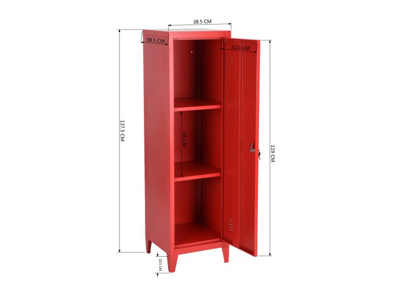 armoire metallique rouge conforama